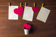 Red hearts hanging on the rope. Beautiful background for Valentine's day stock photography