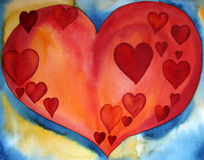 Red Hearts in a Heart. Watercolor painting of a red heart which includes a lot of little red hearts, created by the photographer Royalty Free Stock Image