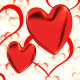 Red, Hearts On A Heart Background Royalty Free Stock Photos