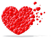 Red hearts in a heart. Background vector stock illustration