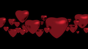 Red hearts. Red heart on black background Stock Photography