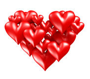 Red hearts in heart shape Royalty Free Stock Photo