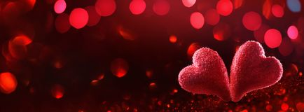 Red Hearts Holiday Background for Valentine`s Day Stock Image