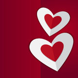 Red hearts, i love you card. On red  background Royalty Free Stock Photography
