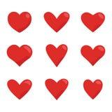 Red hearts icon set. Love symbol vector stock illustration
