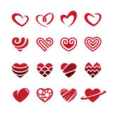 Red hearts icons set Royalty Free Stock Photography