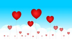 Red Hearts. Illustration /hearts in the sky Royalty Free Stock Image
