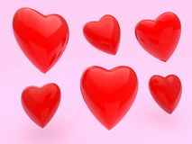 Red Hearts Illustration on Pink Royalty Free Stock Photo