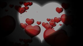 Red hearts inside big white heart floating animation for Valentine's day stock footage