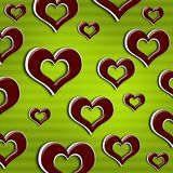 Red hearts isolated on beautiful green background Royalty Free Stock Image