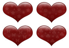 Red hearts isolated on white Stock Photo