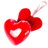 Red hearts isolated on a white background, love concept. Valent Stock Image