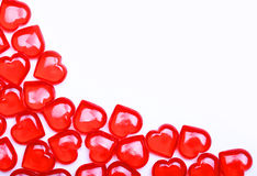 Red Hearts isolated on white background with space for text. Royalty Free Stock Photography