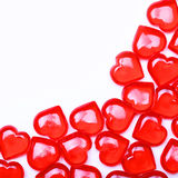 Red Hearts isolated on white background with space for the text. Royalty Free Stock Photos