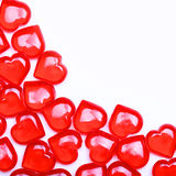 Red Hearts isolated on white background with space for the text. Stock Photo