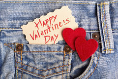 Red hearts on jeans pocket. Royalty Free Stock Photos