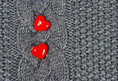Red Hearts of knitted wool background Stock Photography
