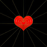 Red Hearts Layered - Trim in Gold - Black Background Royalty Free Stock Photo