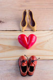 Red hearts laying on wooden background Stock Image