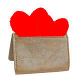 Red hearts in leather wallet. Royalty Free Stock Photos