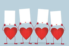Red hearts with legs and hands holding empty blanks  pages Stock Images