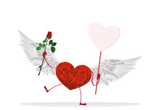 Red hearts with legs and wings. Hands holding empty blanks  page. Red heart with legs and wings. Hands holding empty blank  page for your text or advertisement Royalty Free Stock Photo