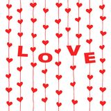 Red hearts and letters Â«LOVE» hanging on strings. Red hearts and letters «LOVE» hanging on strings isolated on white background. Vector illustration for vector illustration