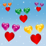 Red hearts lifted by colorful balloons. Illustration of red heart-shapes lifted by bunches ( groups ) of colorful balloons on a blue background with tiny stars stock illustration