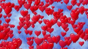 Red hearts like balloon rise up to blue sky with clouds. Flying hearts Valentines Day. Seamless loop. vector illustration