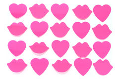 Red hearts and lips background Stock Photo