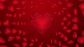Red hearts loop stock video footage