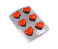 Red hearts love pills Stock Photography