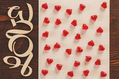 Red hearts and love text Stock Photography