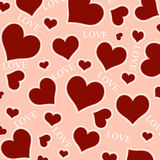 Red hearts and LOVE wording. Royalty Free Stock Image
