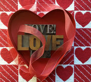 Love words and hearts Stock Image