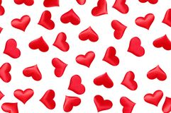 Red hearts made of cloth. vector illustration