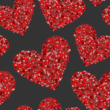 Red hearts made from small circles on black Royalty Free Stock Photos