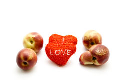 Red hearts with Nectarines Royalty Free Stock Images