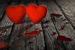Red hearts on old wooden floor, Valentine`s Day Royalty Free Stock Images