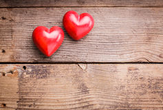 Red Hearts On Wood Stock Photography