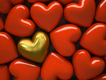Red hearts and one gold heart on background. 3D illustration Royalty Free Illustration