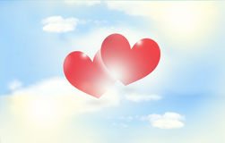 Red hearts outdoor Royalty Free Stock Photography