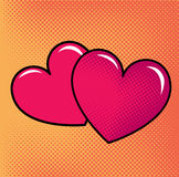 Red hearts over halftone background. Royalty Free Stock Photo