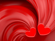 Red hearts over red silk valentines day background. Royalty Free Stock Image