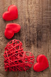 Red hearts over wooden background for Valentines day Royalty Free Stock Photos