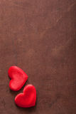 Red hearts over wooden background for Valentines Stock Photography