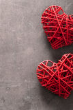 Red hearts over wooden background for Valentines day Stock Photos