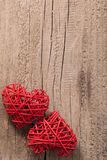 Red hearts over wooden background for Valentines day Stock Images