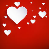 Red Hearts Paper Sticker. EPS 10 Royalty Free Stock Images