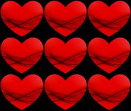 Red hearts pattern Royalty Free Stock Images